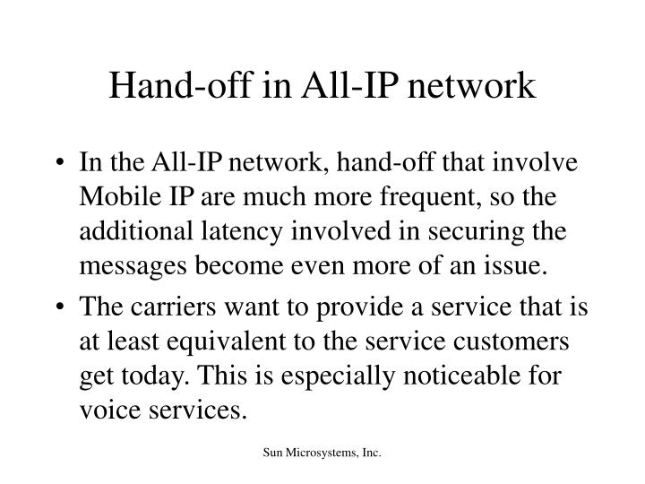 Hand-off in All-IP network