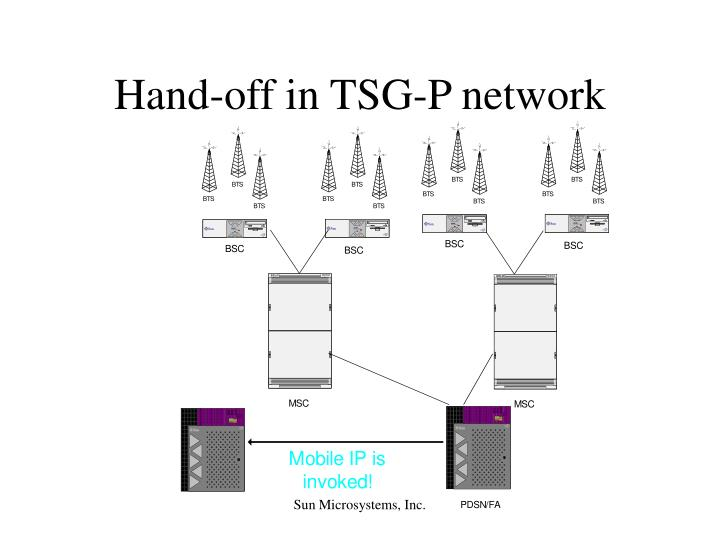 Hand-off in TSG-P network