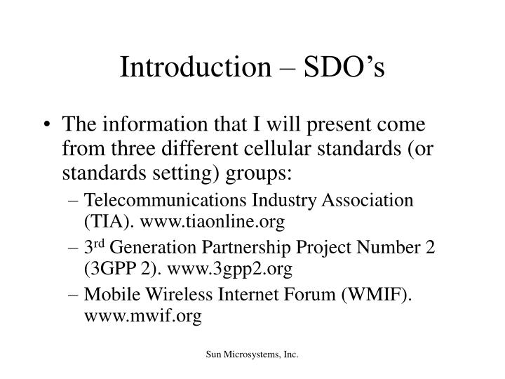 Introduction sdo s