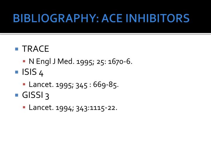 BIBLIOGRAPHY: ACE INHIBITORS