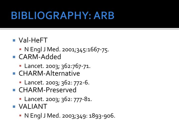 BIBLIOGRAPHY: ARB