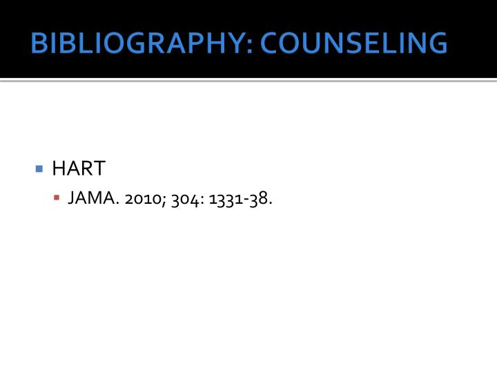 BIBLIOGRAPHY: COUNSELING