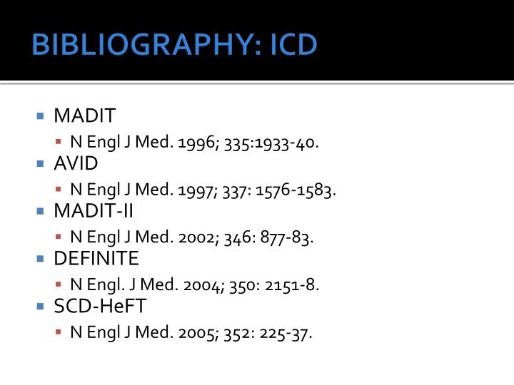 BIBLIOGRAPHY: ICD
