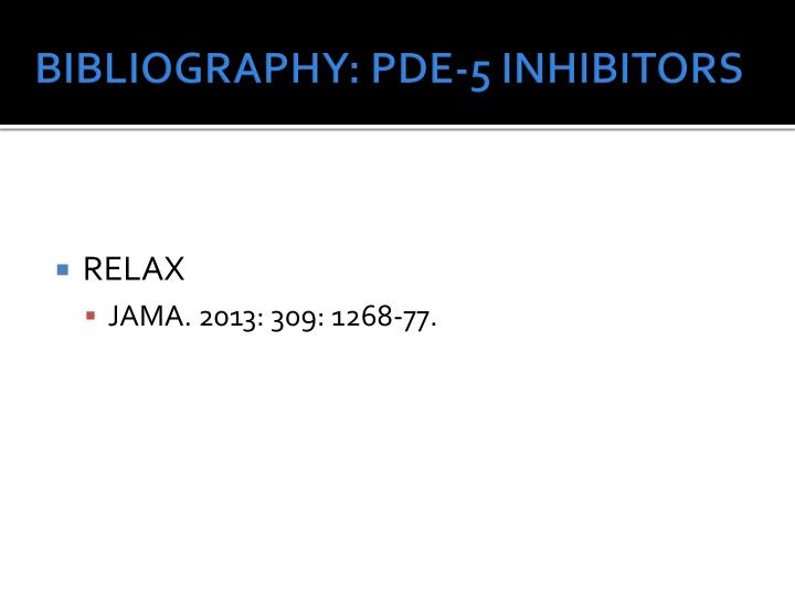 BIBLIOGRAPHY: PDE-5 INHIBITORS