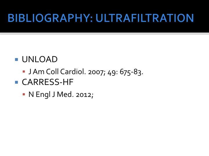 BIBLIOGRAPHY: ULTRAFILTRATION