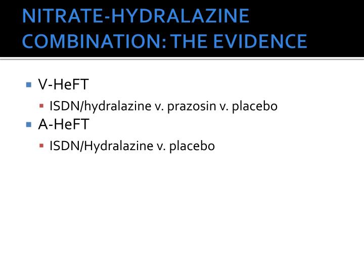 NITRATE-HYDRALAZINE COMBINATION: THE EVIDENCE