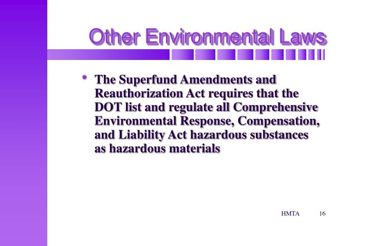 Other Environmental Laws