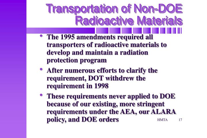 Transportation of Non-DOE Radioactive Materials