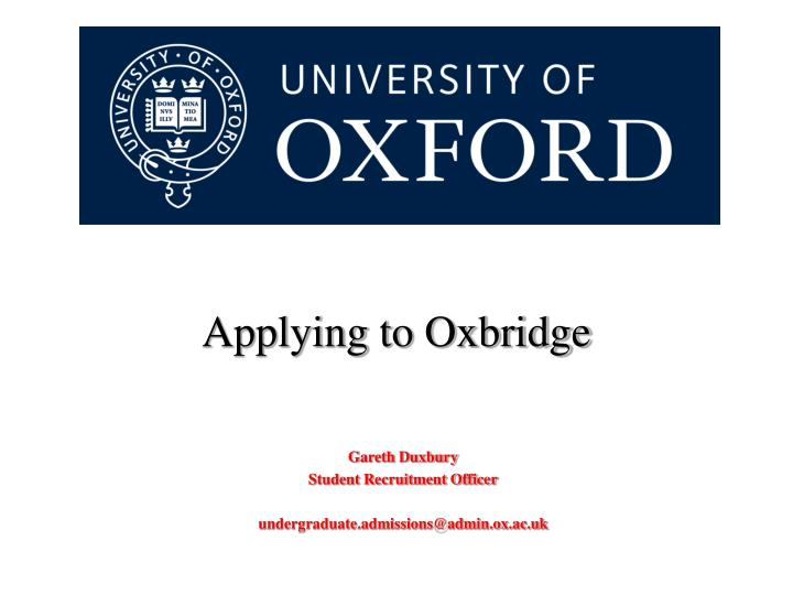 Applying to Oxbridge