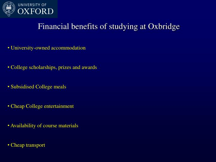 Financial benefits of studying at Oxbridge