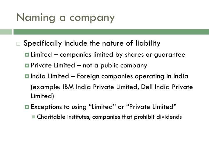 Naming a company