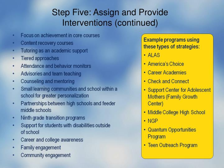 Step Five: Assign and Provide Interventions (continued)