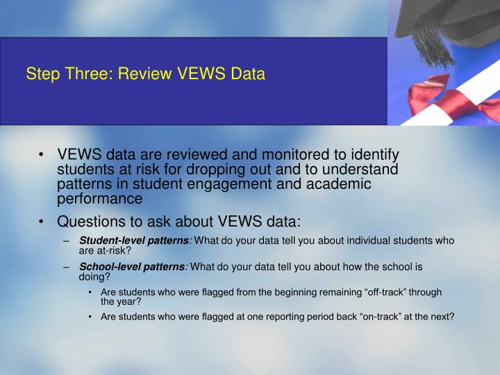 Step Three: Review VEWS Data
