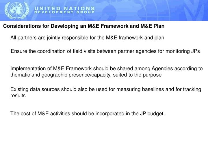 Considerations for Developing an M&E Framework and M&E Plan