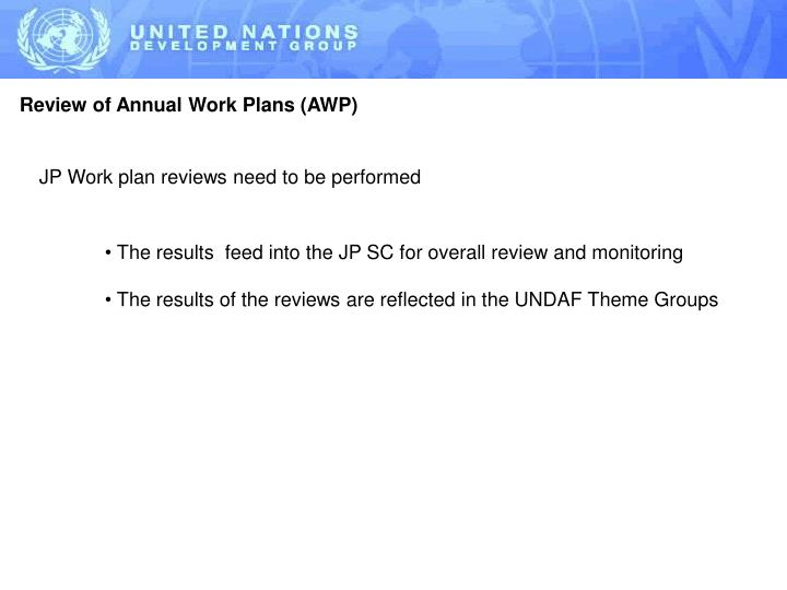 Review of Annual Work Plans (AWP)