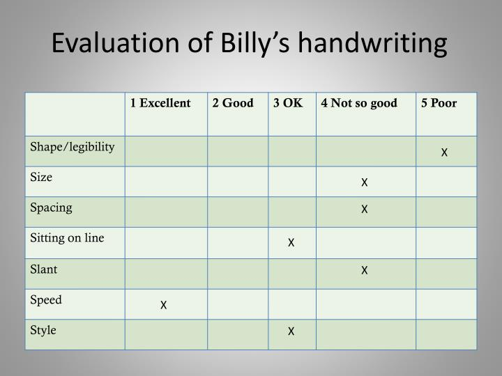 Evaluation of Billy's handwriting