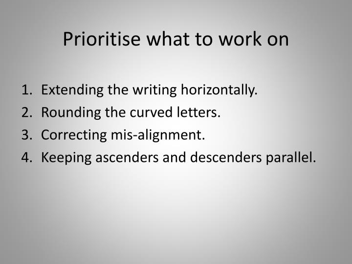 Prioritise what to work on