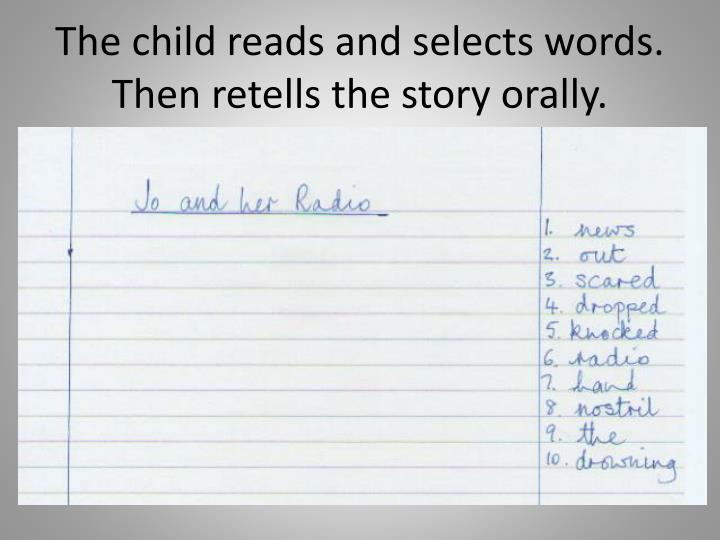 The child reads and selects words.