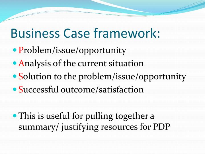 Business Case framework: