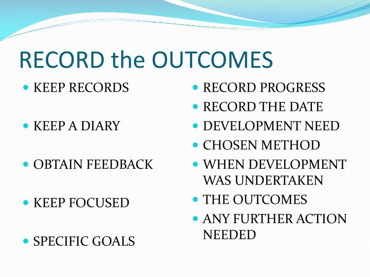RECORD the OUTCOMES