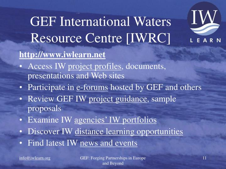 GEF International Waters Resource Centre [IWRC]