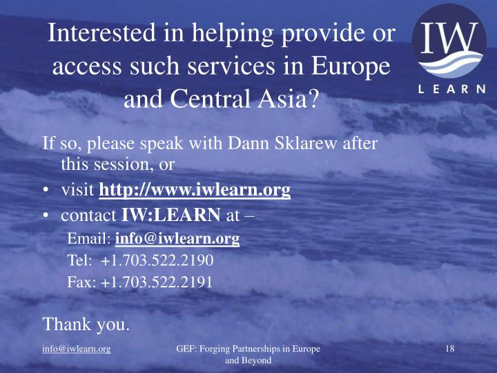 Interested in helping provide or access such services in Europe and Central Asia?