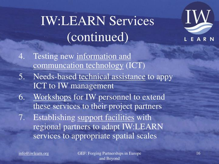 IW:LEARN Services (continued)