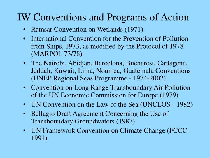 Iw conventions and programs of action