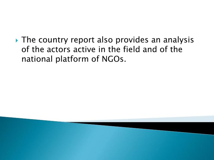 The country report also provides an analysis of the actors active in the field and of the national platform of NGOs.