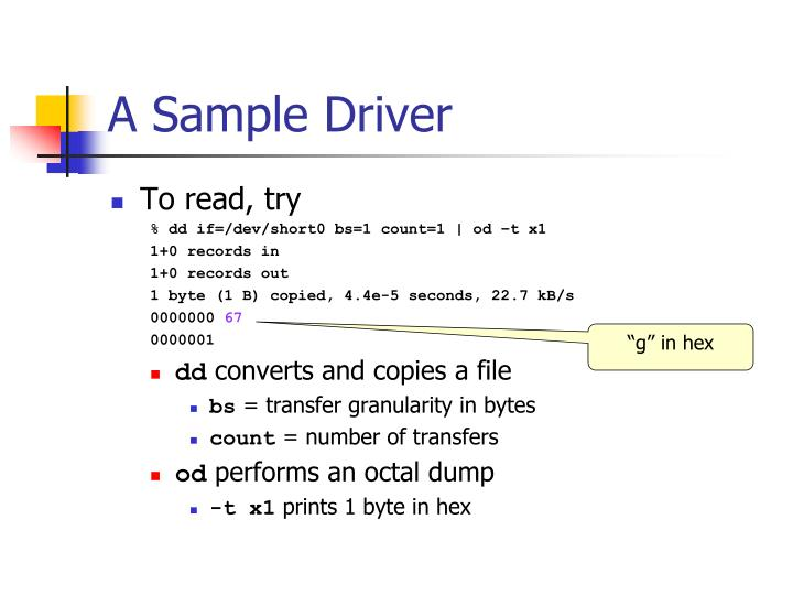 A Sample Driver