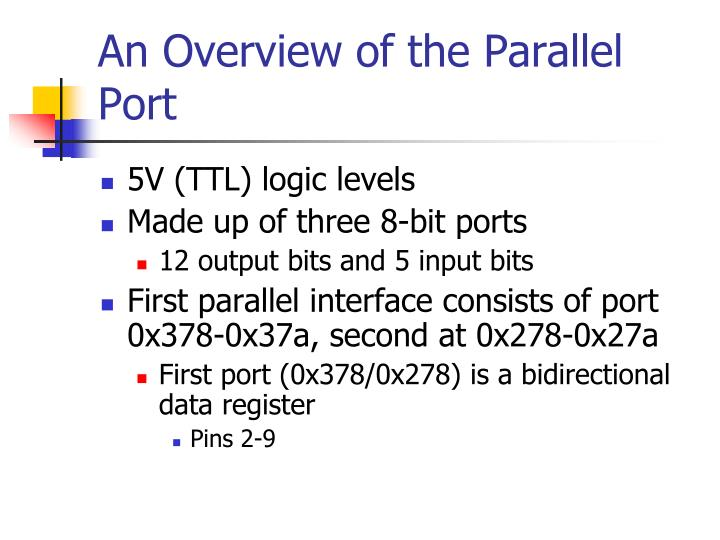 An Overview of the Parallel Port