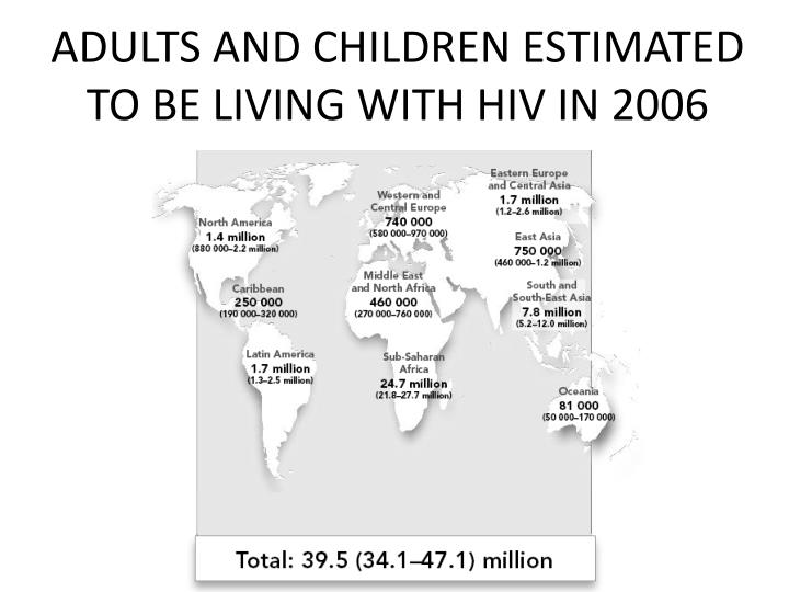 ADULTS AND CHILDREN ESTIMATED TO BE LIVING WITH HIV IN 2006