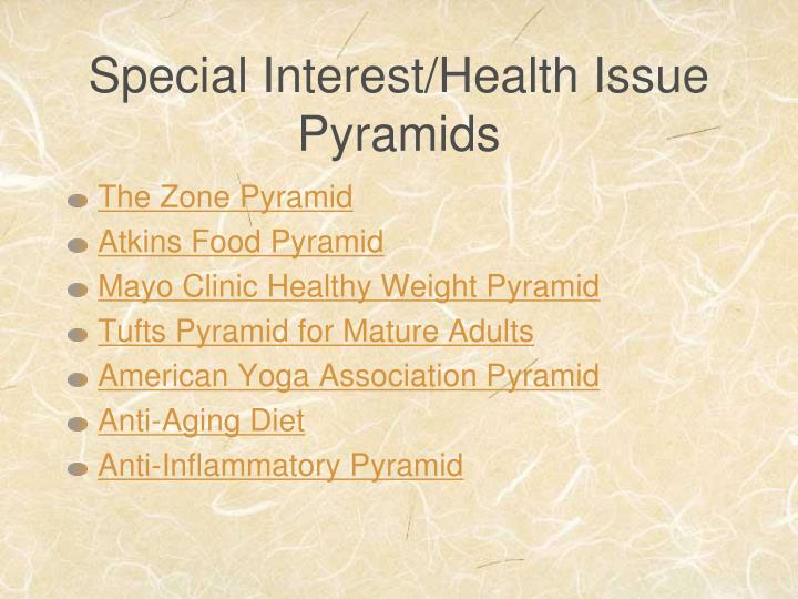 Special Interest/Health Issue Pyramids