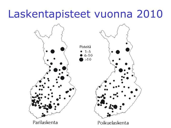 Laskentapisteet vuonna 2010