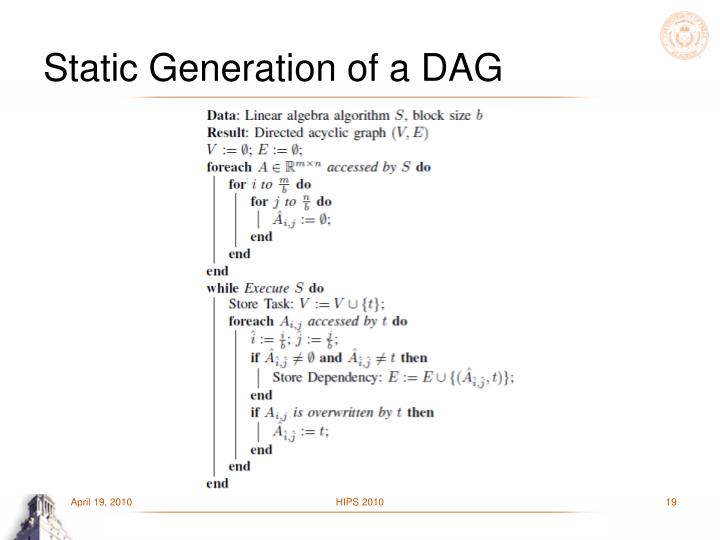 Static Generation of a DAG