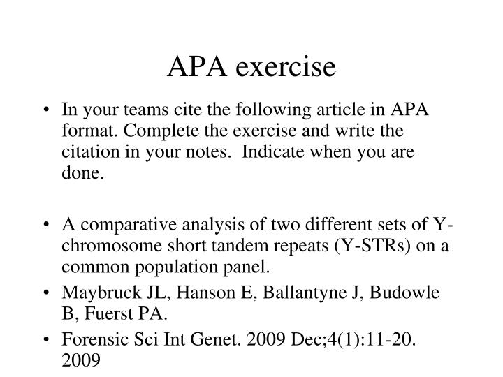 APA exercise