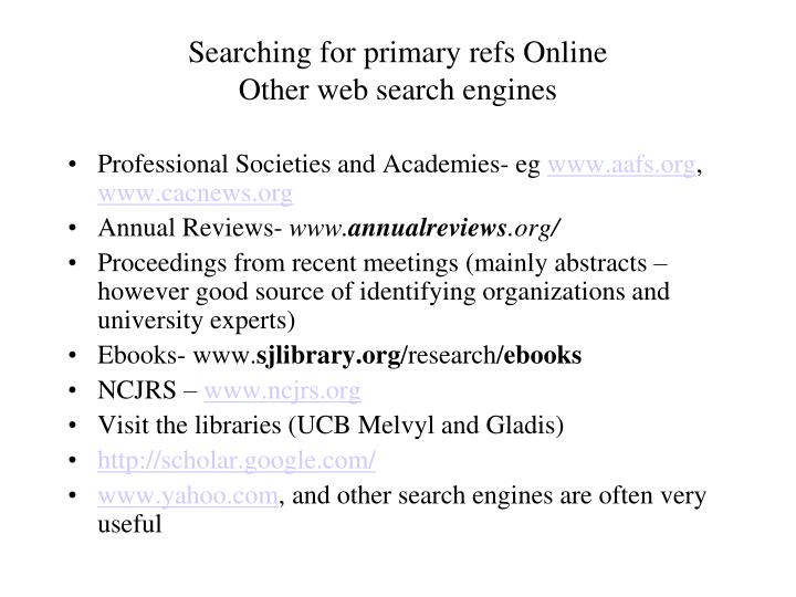 Searching for primary refs Online