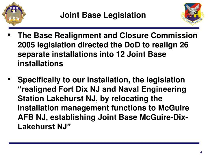 Joint Base Legislation