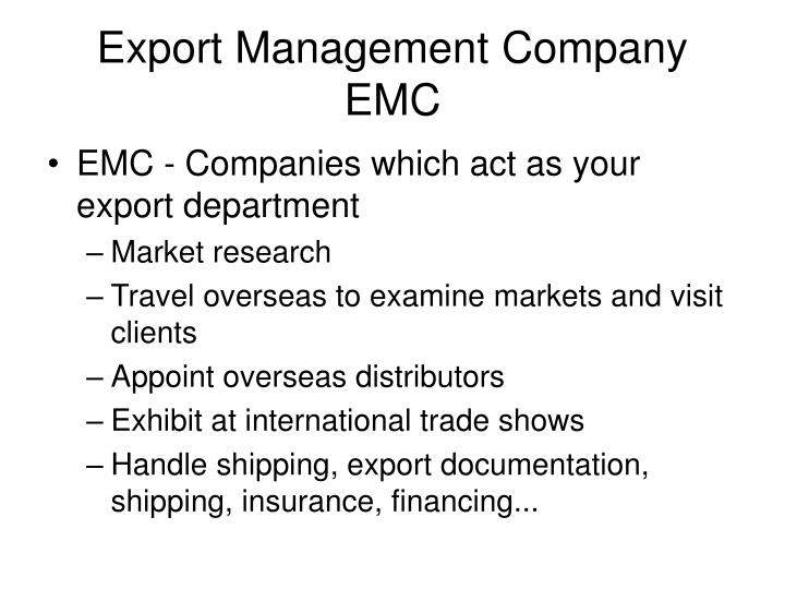 Export Management Company EMC