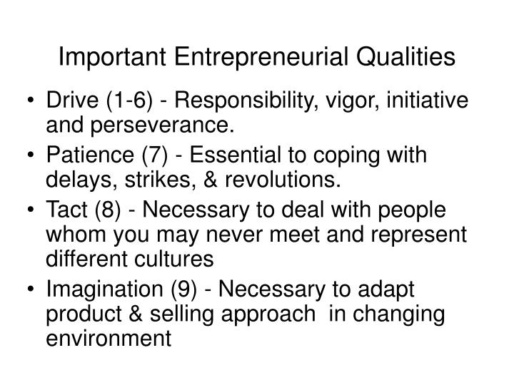 Important Entrepreneurial Qualities
