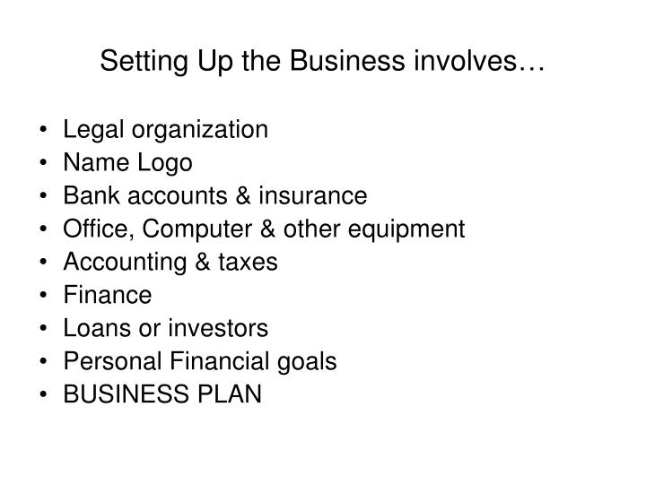 Setting Up the Business involves…