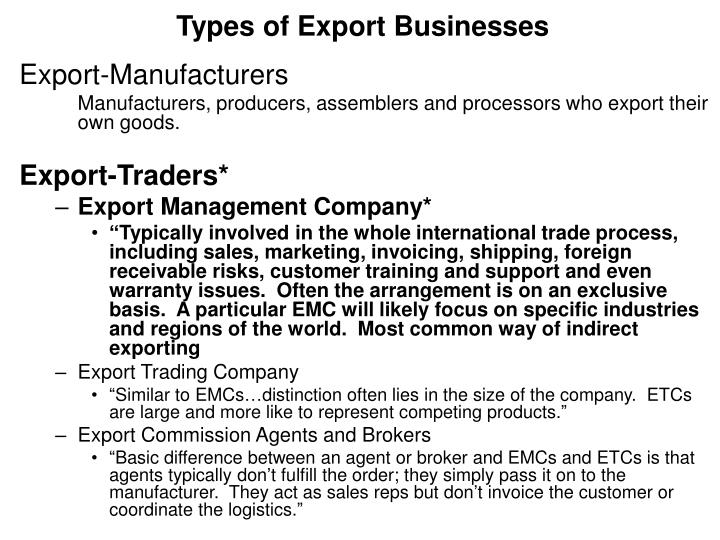 Types of Export Businesses