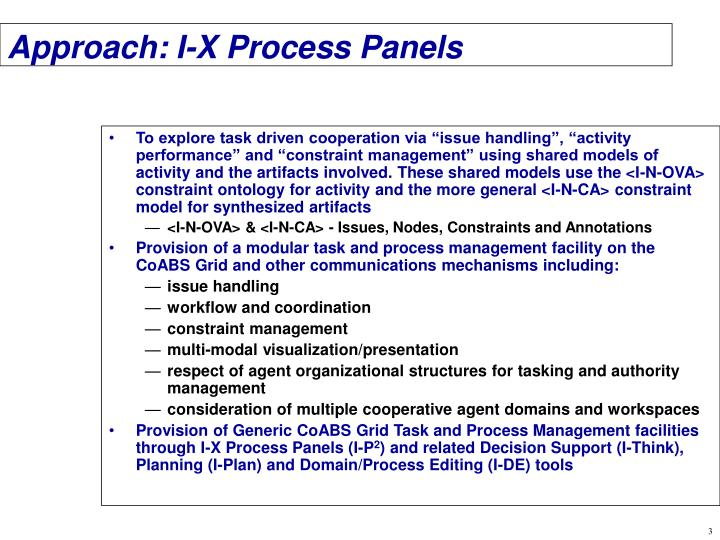 Approach i x process panels