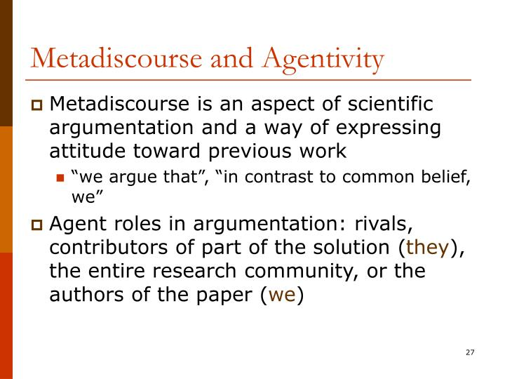 Metadiscourse and Agentivity