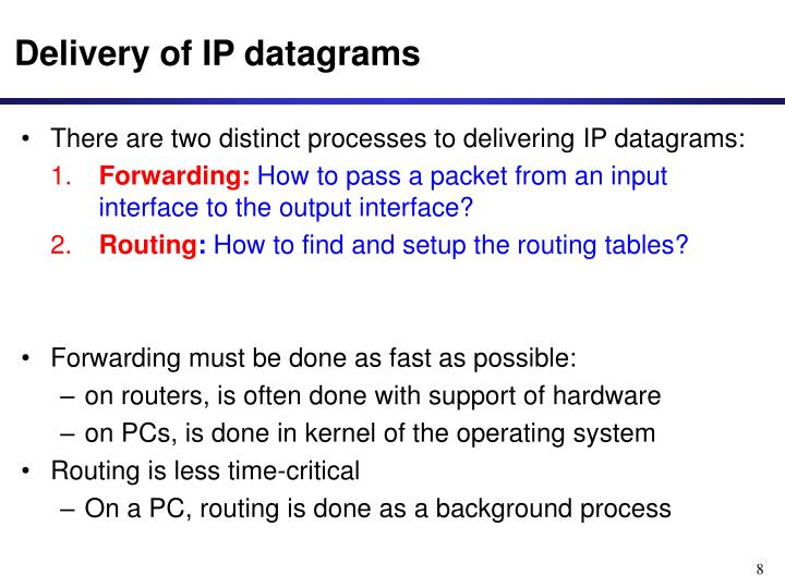 Delivery of IP datagrams