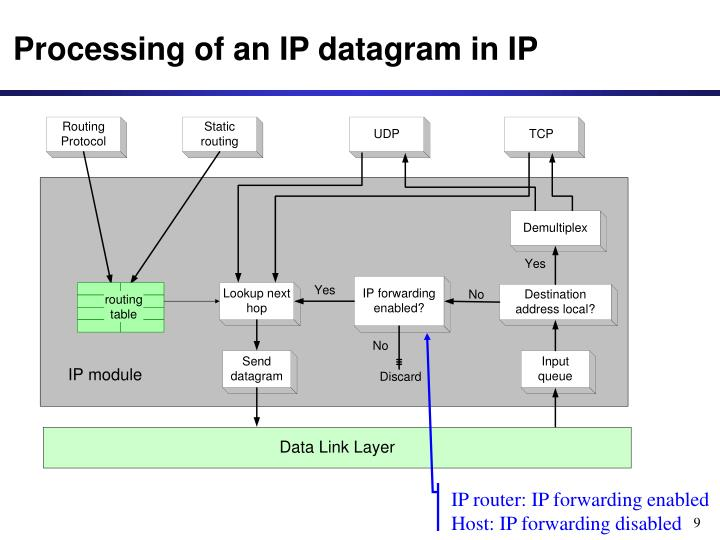 Processing of an IP datagram in IP