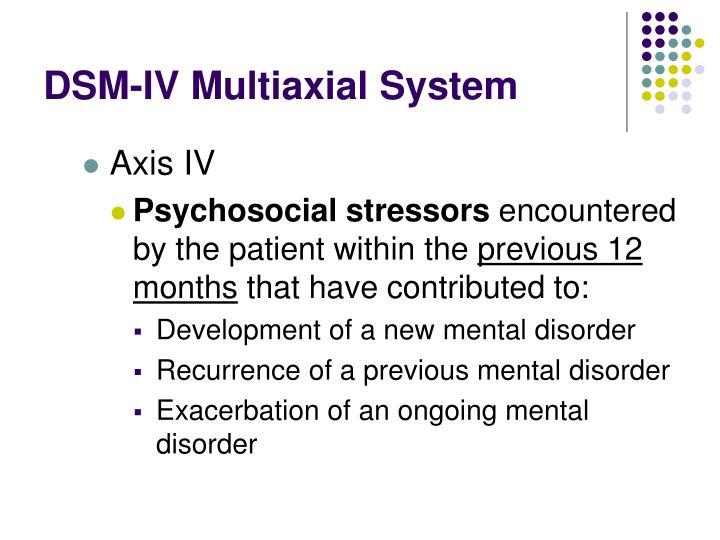 DSM-IV Multiaxial System