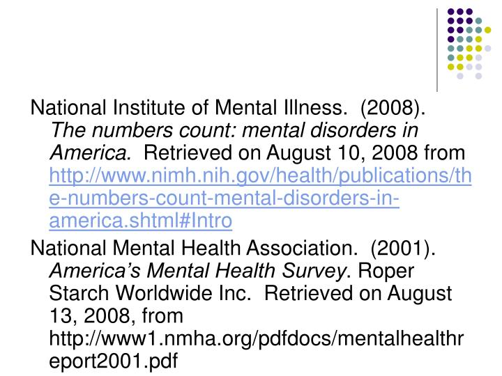 National Institute of Mental Illness.  (2008).