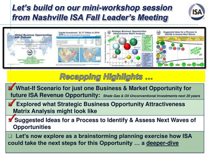 Let s build on our mini workshop session from nashville isa fall leader s meeting