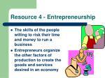 resource 4 entrepreneurship